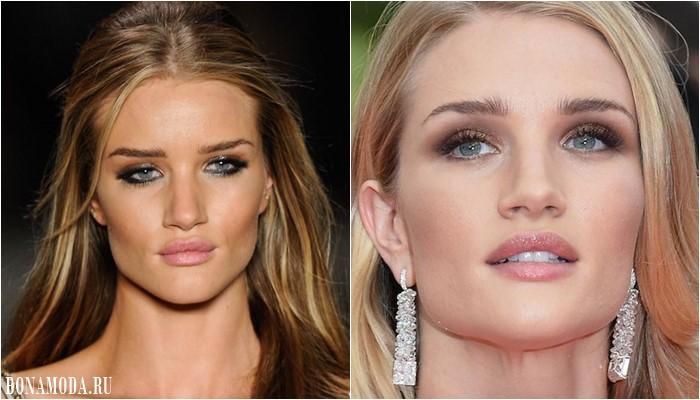 Цвет теней для зеленых глаз: макияж Рози Хантингтон-Уайтли  - нейтральыне оттенки бежевого и розового