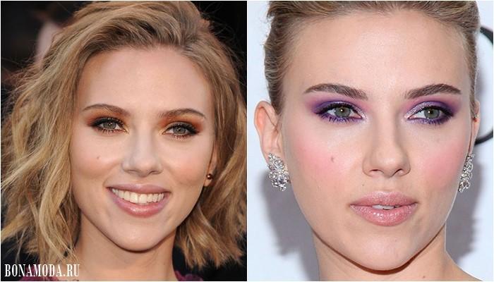 Цвет теней для зеленых глаз: макияж Скарлет Йоханссон - оранжевые и сиреневые