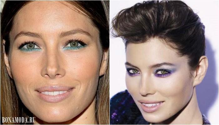 Цвет теней для зеленых глаз: макияж Джессики Бил - бирюзовая подводки и сиреневые тени