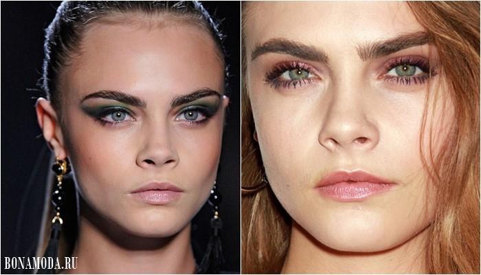 Цвет теней для зеленых глаз: макияж Кары Делевинь - зеленые и розовые