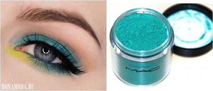 Цвет теней для зеленых глаз: яркие бирюзовые