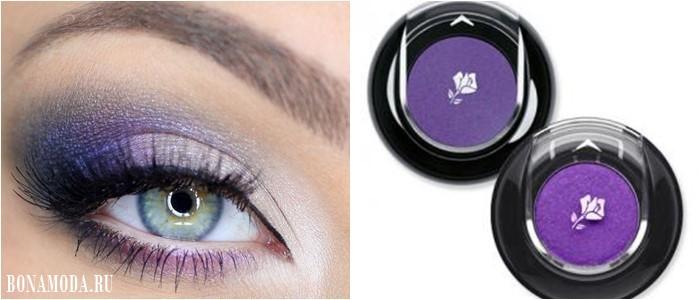 Цвет теней для зеленых глаз: яркие фиолетовые с перламутровым эффектом