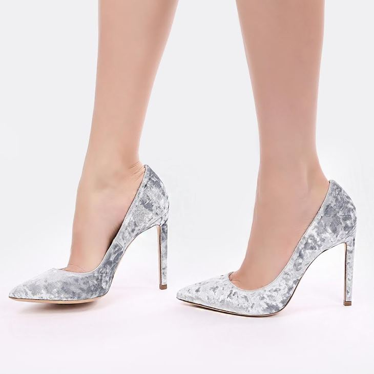 Бархатные туфли Marco Barbabella - серые на шпильке
