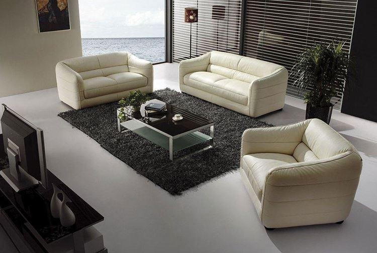 Бежевый диван в интерьере: кожаные оттенка слоновой кости
