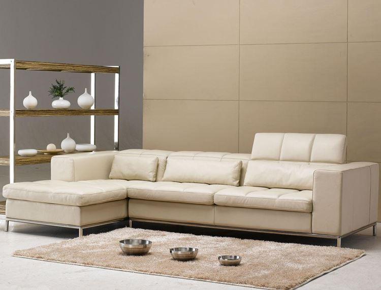 Бежевый диван в интерьере: кожаный угловой светлый