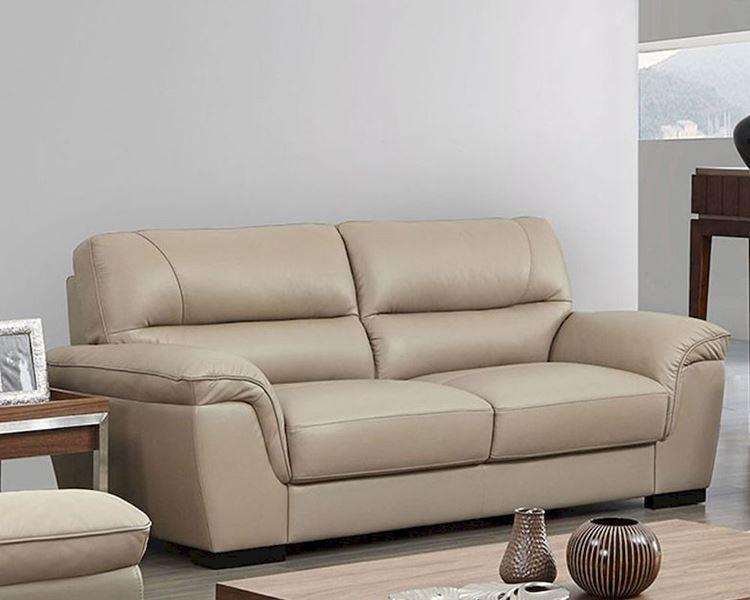 Бежевый диван в интерьере: мягкий кожаный двухместный