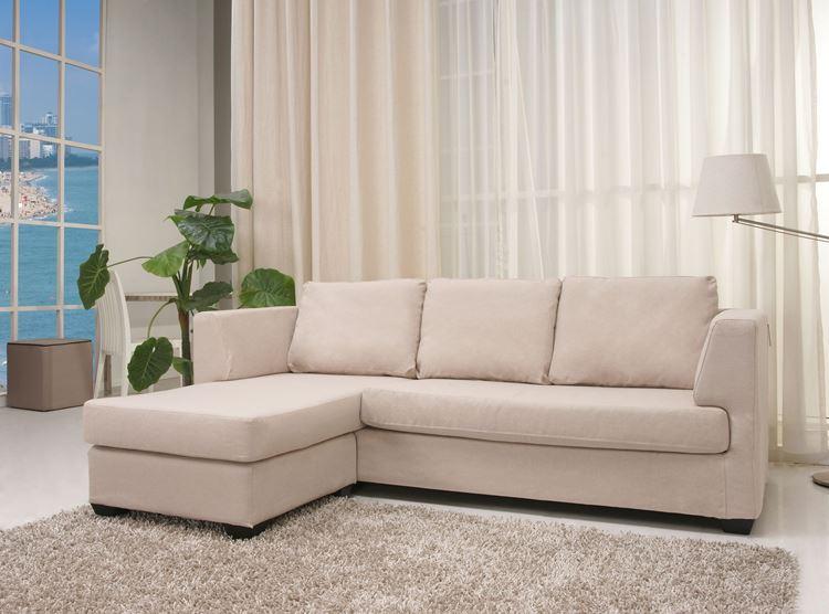 Бежевый диван в интерьере: светлый угловой трансформер
