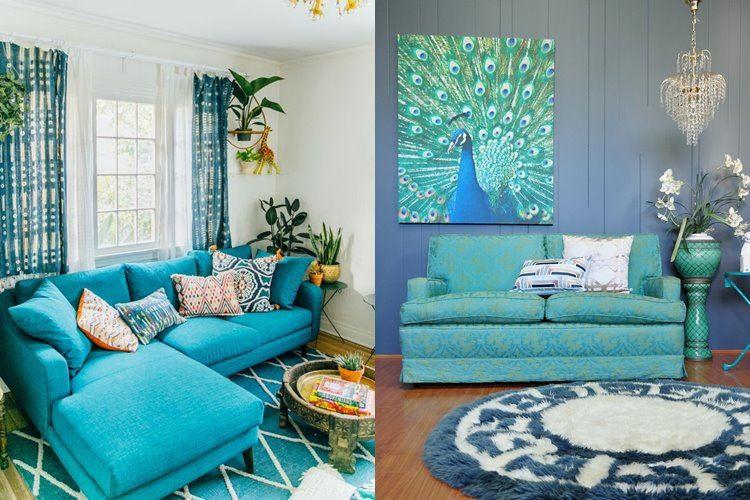 Бирюзовый диван в интерьере: Дизайн в ярких бирюзовых тонах с мягкими диванами