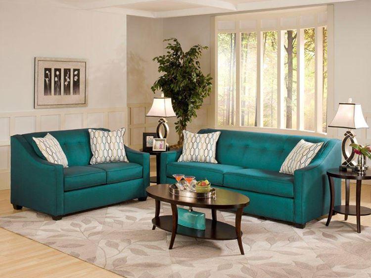 Бирюзовый диван в интерьере: бежевая гостиная