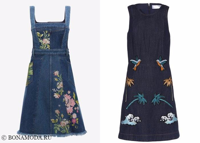 Джинсовые платья 2017-2018: темный деним с вышивкой