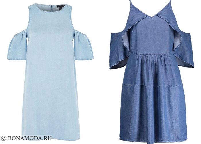 Джинсовые платья 2017-2018: вырезы на плечах