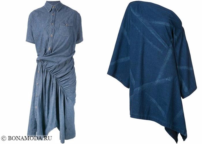 Джинсовые платья 2017-2018: авангардный асимметричный крой