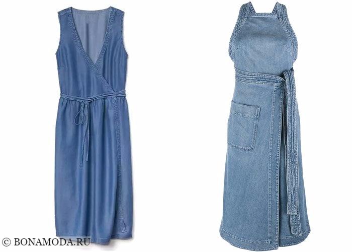 Джинсовые платья 2017-2018: сарафаны с запахом