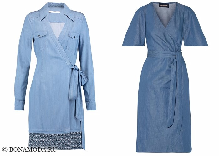 Джинсовые платья 2017-2018: халаты с рукавами