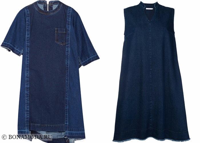 Джинсовые платья 2017-2018: темный деним оверсайз