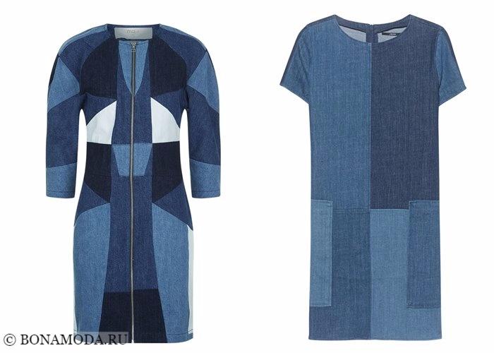 Джинсовые платья 2017-2018: стиль пэтчворк с рукавами
