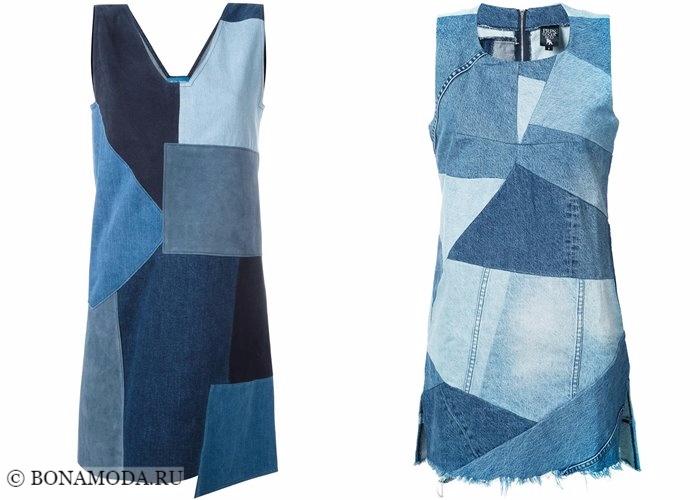 Джинсовые платья 2017-2018: модели пэтчворк без рукавов