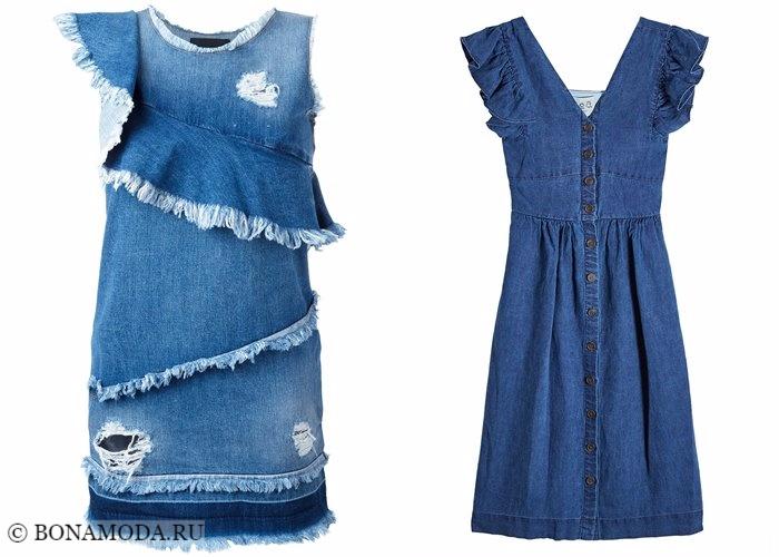 Джинсовые платья 2017-2018: с воланами