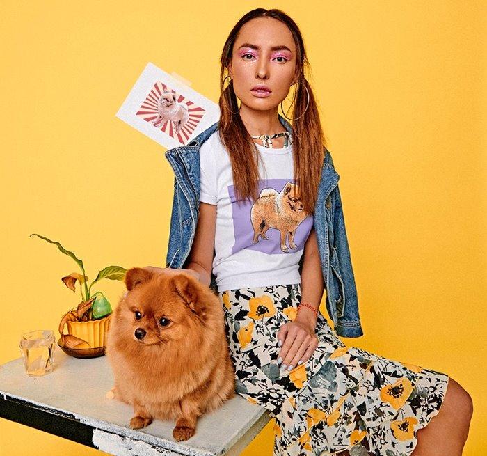 Поп-арт футболки с домашними животными Pets Tee: рыжий шпиц