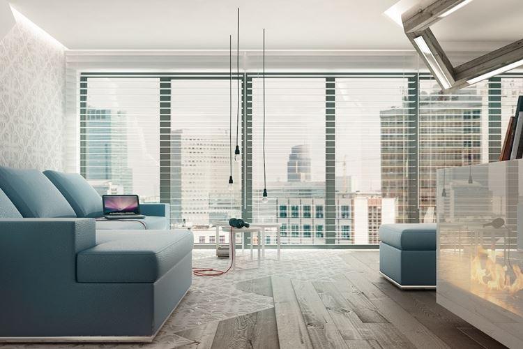 Голубой диван в интерьере: гостиная с французскими окнами ос голубой мягкой мебелью