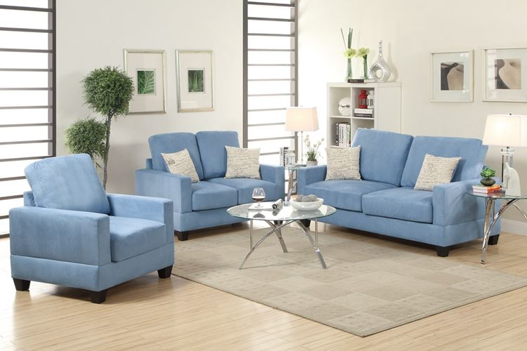 Голубой диван в интерьере: диваны и кресло в гостиной в светлых бежевых тонах
