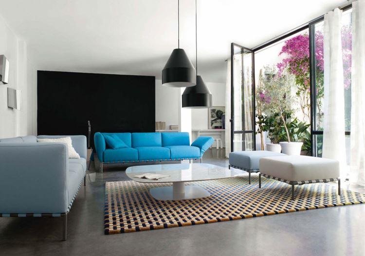 Голубой диван в интерьере: минималистичная гостиная с ярким и светлым пастельным голубыми диванами