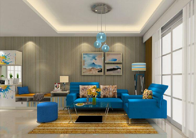 Голубой диван в интерьере: диван с креслами в бежевой гостиной