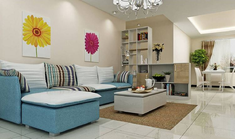 Голубой диван в интерьере: модульный диван с полосатыми подушками в светлой гостиной
