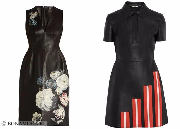 Кожаные платья 2017-2018: черные с принтами