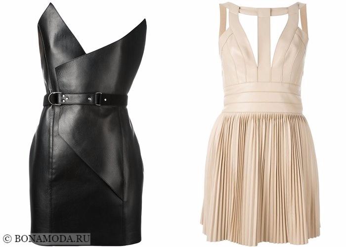 Кожаные платья 2017-2018: коктейльные на вечеринку