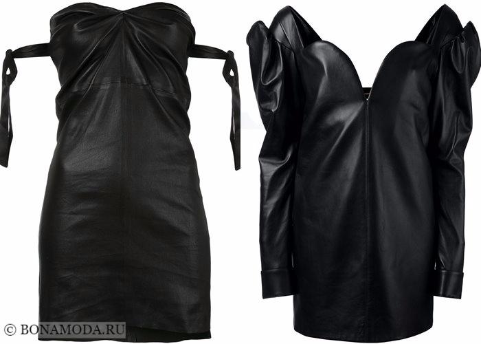 Кожаные платья 2017-2018: мини бюстье