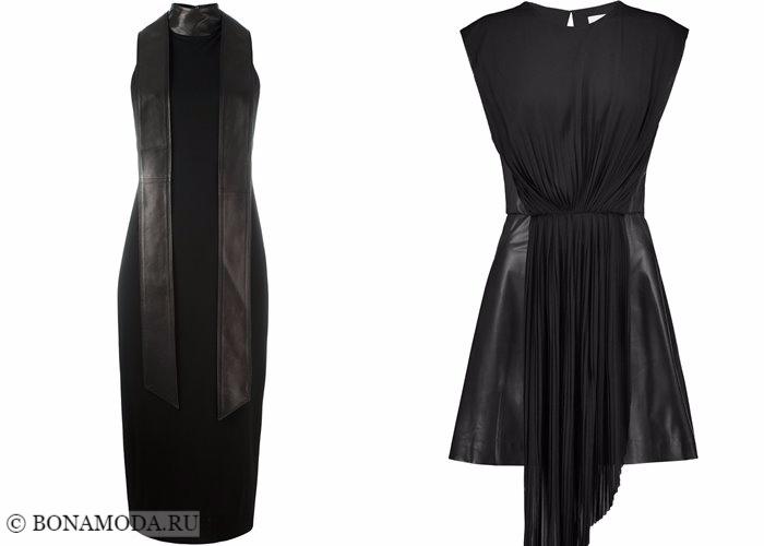 Кожаные платья 2017-2018: кожа и ткань