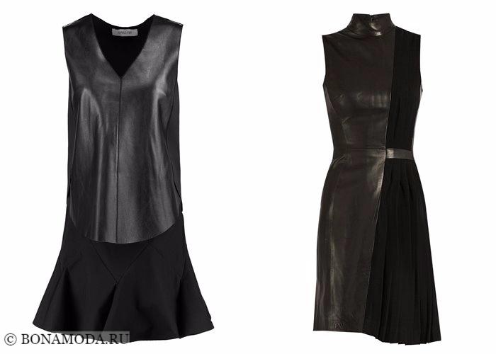 Кожаные платья 2017-2018: комбинированные без рукавов