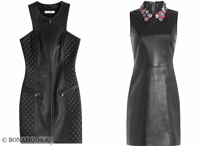 Кожаные платья 2017-2018: черные короткие