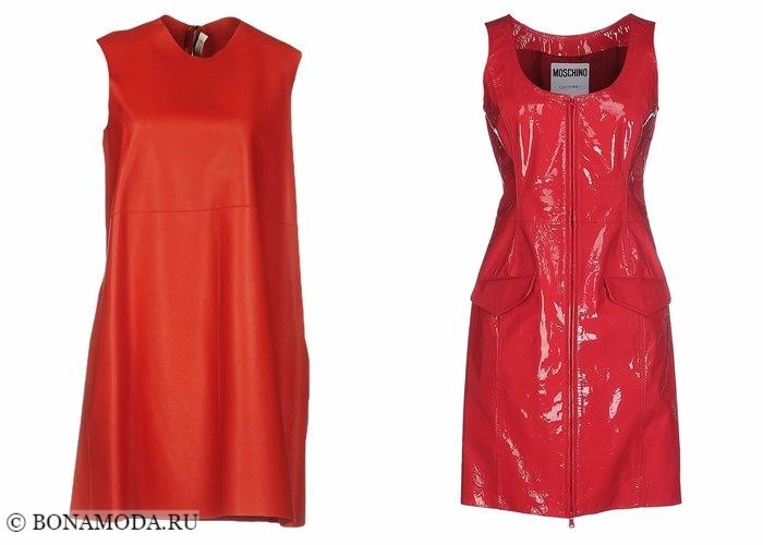 Кожаные платья 2017-2018: красные без рукавов