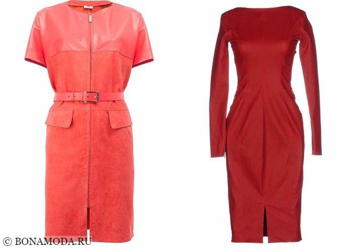 Кожаные платья 2017-2018: красные с рукавами