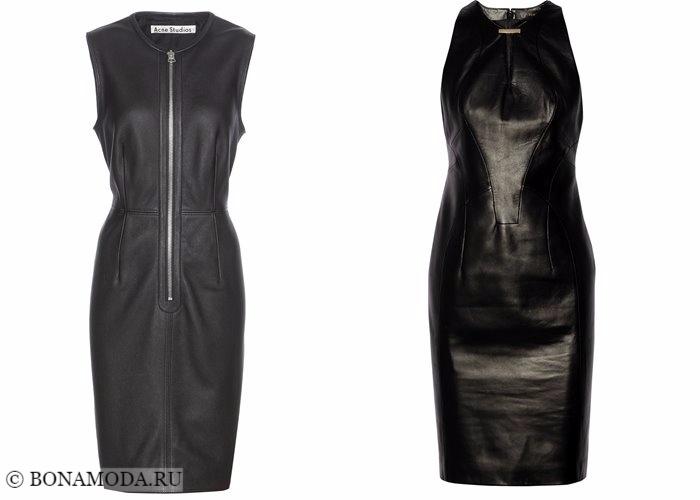 Кожаные платья 2017-2018: облегающие футляр