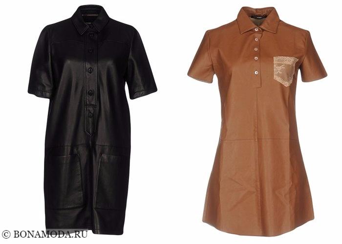Кожаные платья 2017-2018: короткие модели рубашка