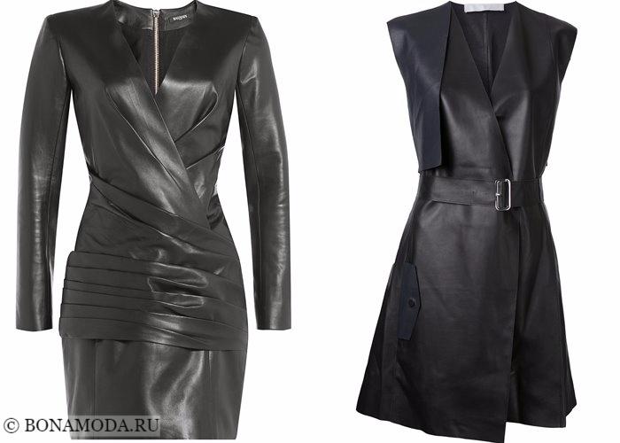 Кожаные платья 2017-2018: модели халат