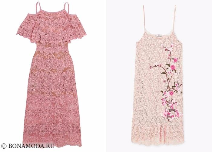 Кружевные платья 2017-2018: розовые сарафаны