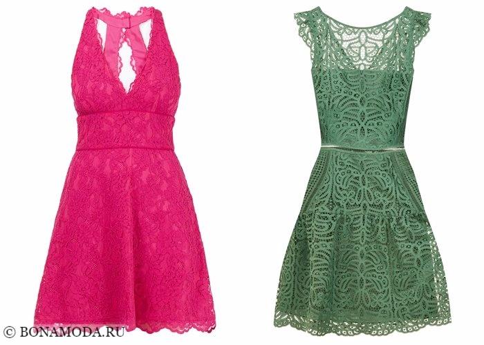 Кружевные платья 2017-2018: розовые и зеленые