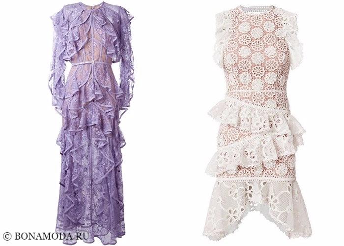 Кружевные платья 2017-2018: с оборками и рюшами