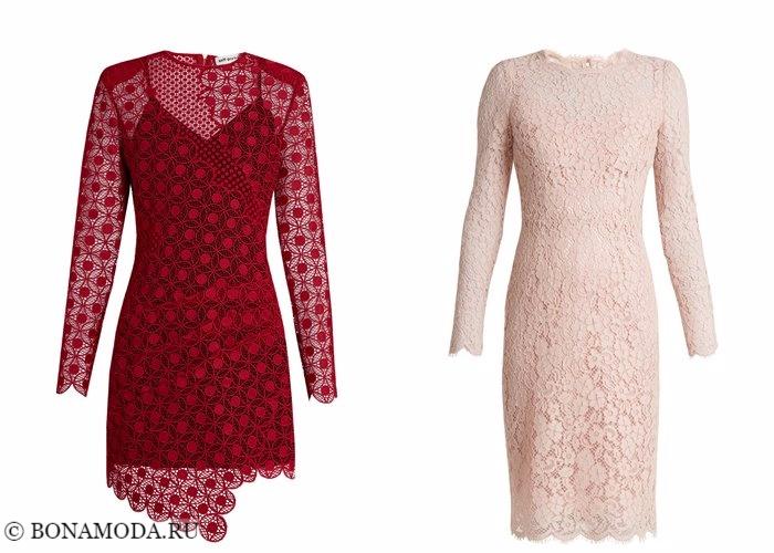 Кружевные платья 2017-2018: длинный рукав