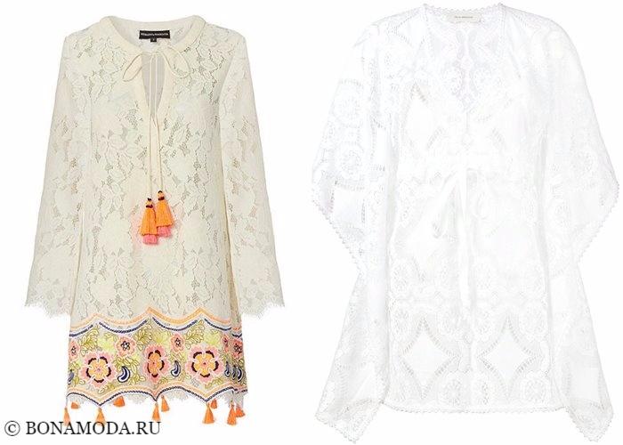 Кружевные платья 2017-2018: белые туники