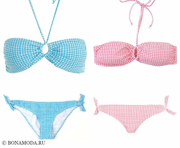 Купальники ТВОЕ весна-лето 2017:  голубой и розовый в клетку