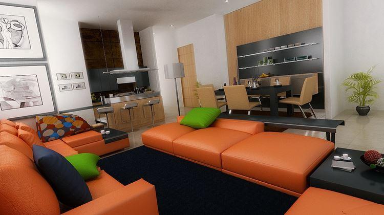 Оранжевый диван в интерьере: угловые оранжевые кожаные диваны с синими и зелёными подушками