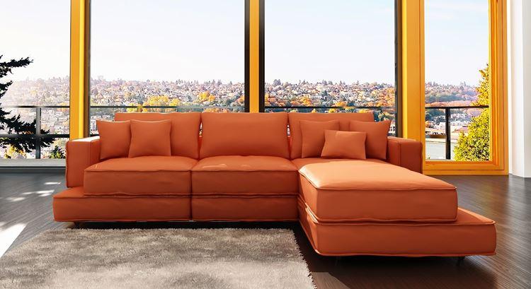 Оранжевый диван в интерьере: угловой диван из эко-кожи