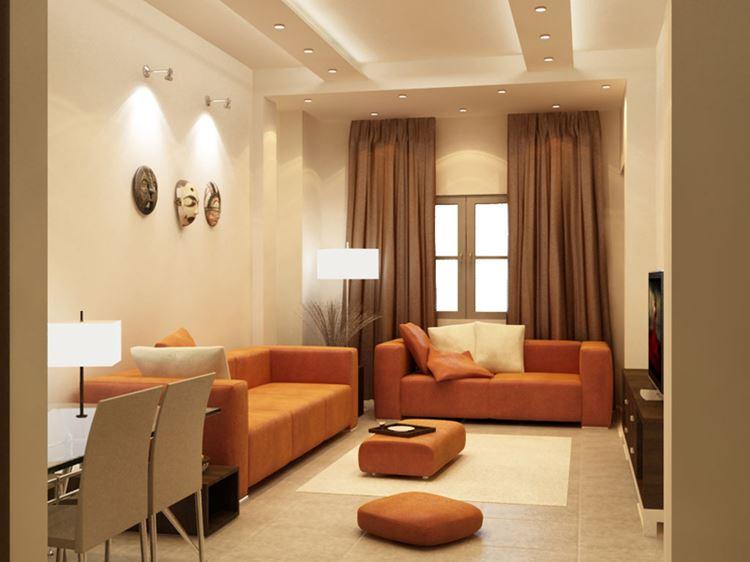 Оранжевый диван в интерьере: гостиная в тёплых бежевых тонах тонах с оранжевыми диванами