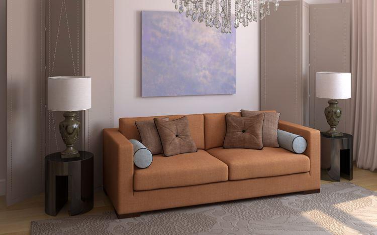 Оранжевый диван в интерьере: оранжевый диван с коричневыми и голубыми подушками