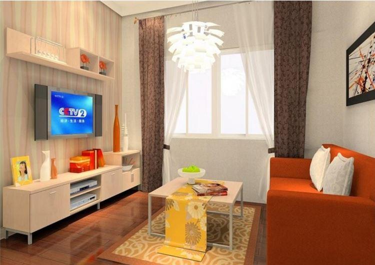 Оранжевый диван в интерьере:  комната с ярким оранжевым двухместным диваном